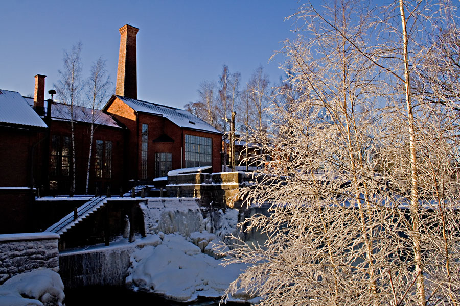 An old industrial milieu at winter