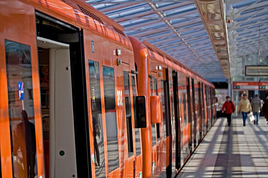 A subway train at Vuosaari station