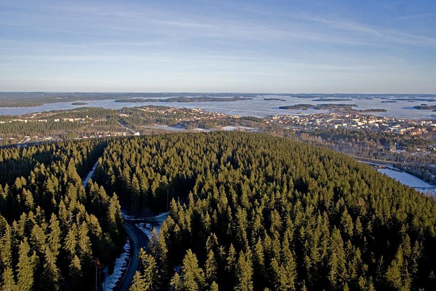Puijo hill, city of Kuopio and lake Kallavesi