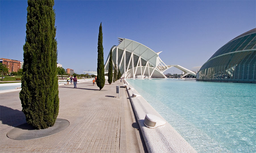 The science museum and the planetarium at the Valencia art and science center
