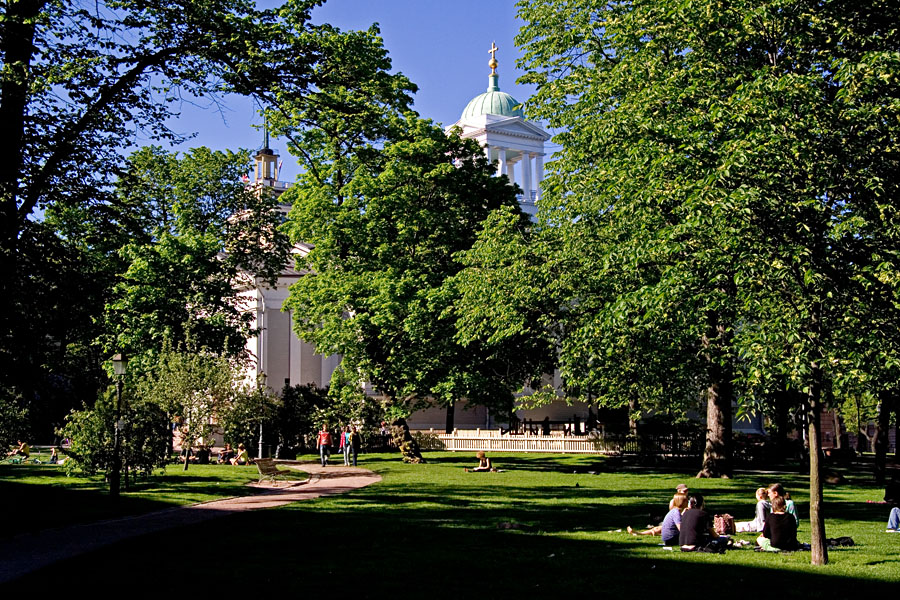 Old church park at summer