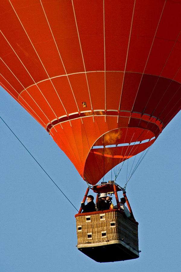Hot-air balloon taking off