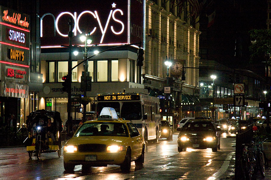 Traffic in front of Macy's department store