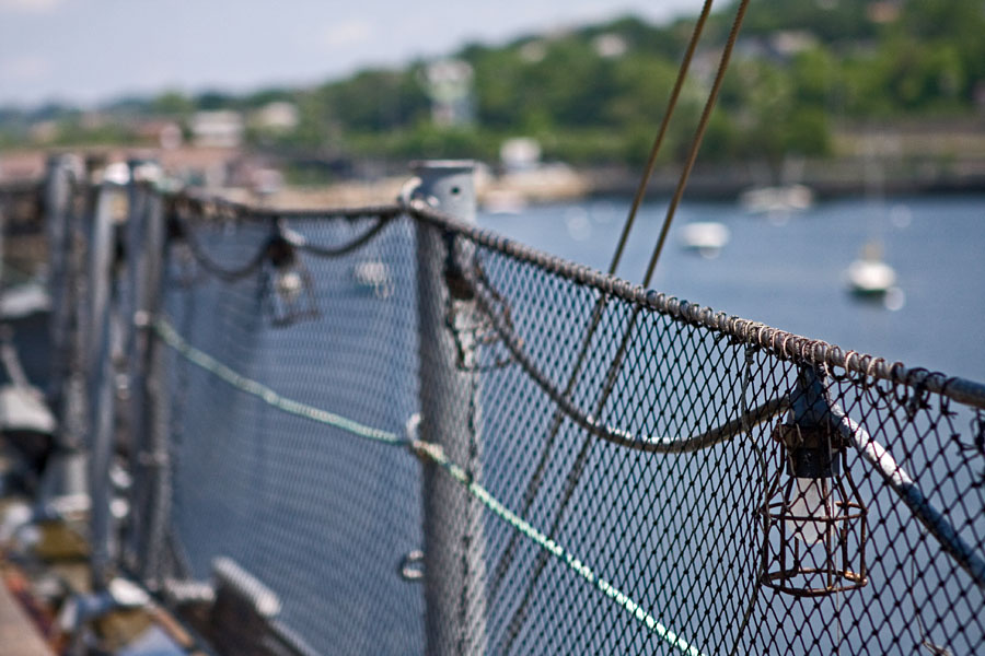 A deck fence on USS Massachusetts