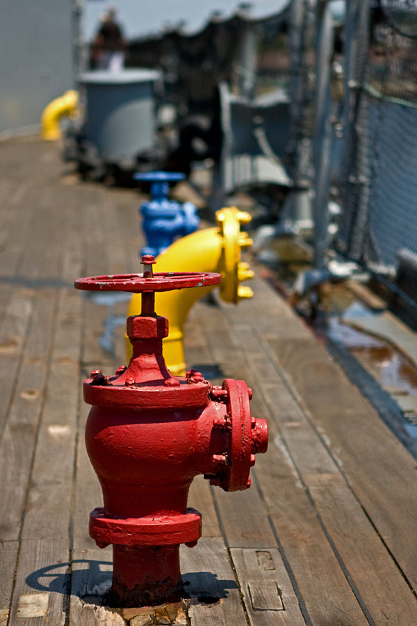 Pipes on the deck of USS Massachusetts