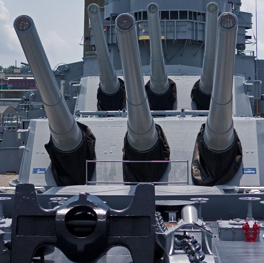 Guns aboard USS Massachusetts