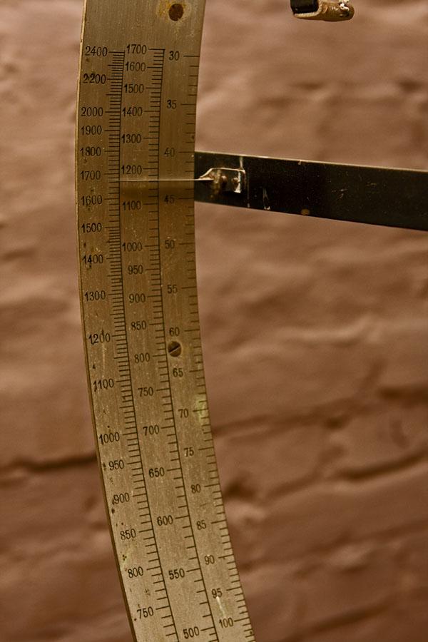 A scale at Verla cardboard factory