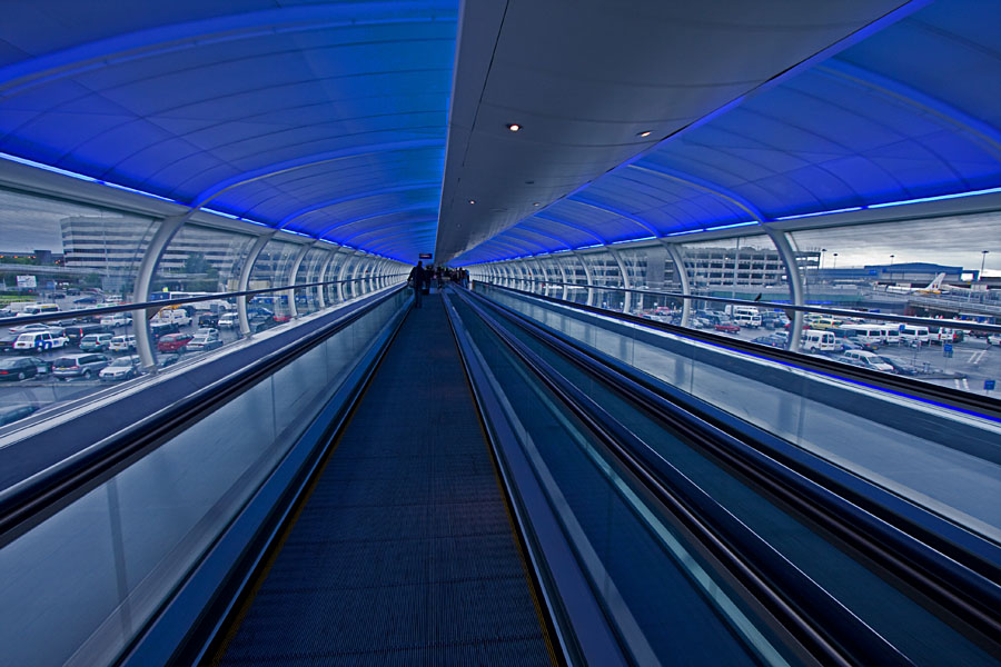 A moving sidewalk at Manchester airport