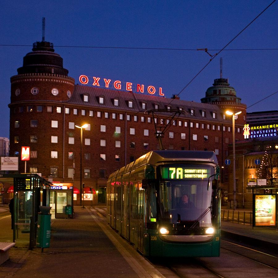 Raitiovaunu 7A saapuu Hakaniemeen