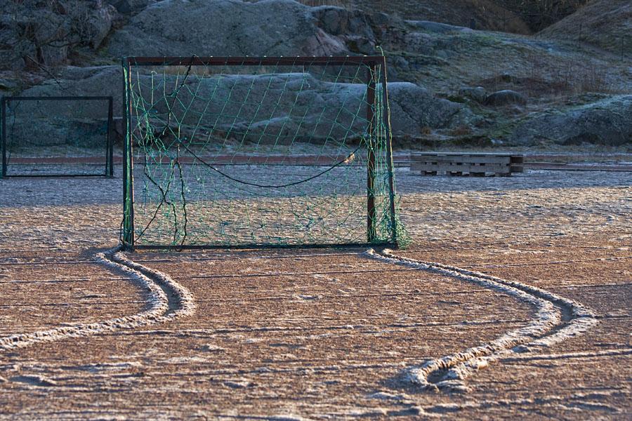 Soccer goals at Suomenlinna sport field
