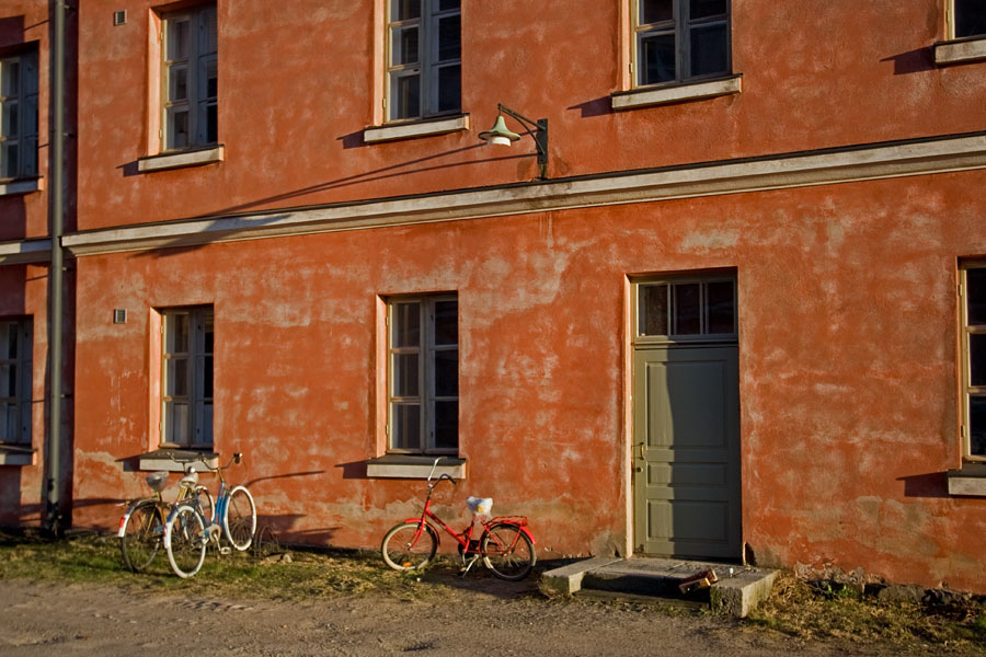Bicycles in front of an appartment house