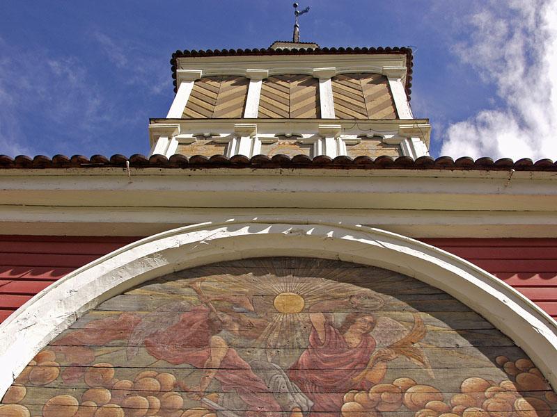 Yksityiskohta Övertorneån kirkon kellotapulissa