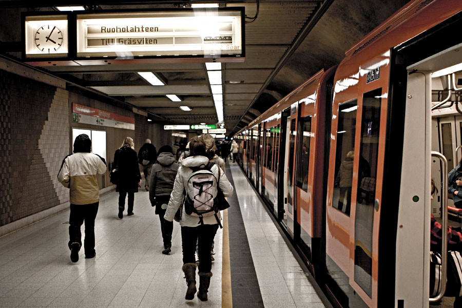 Metro train at Rautatientori