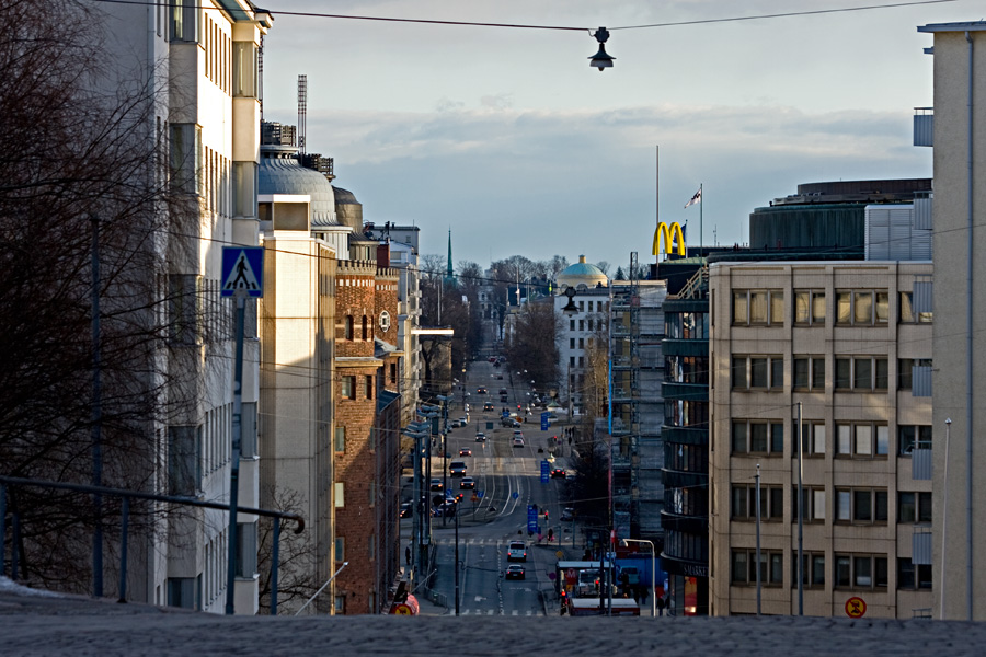 View to Siltasaarenkatu street from Kallio church