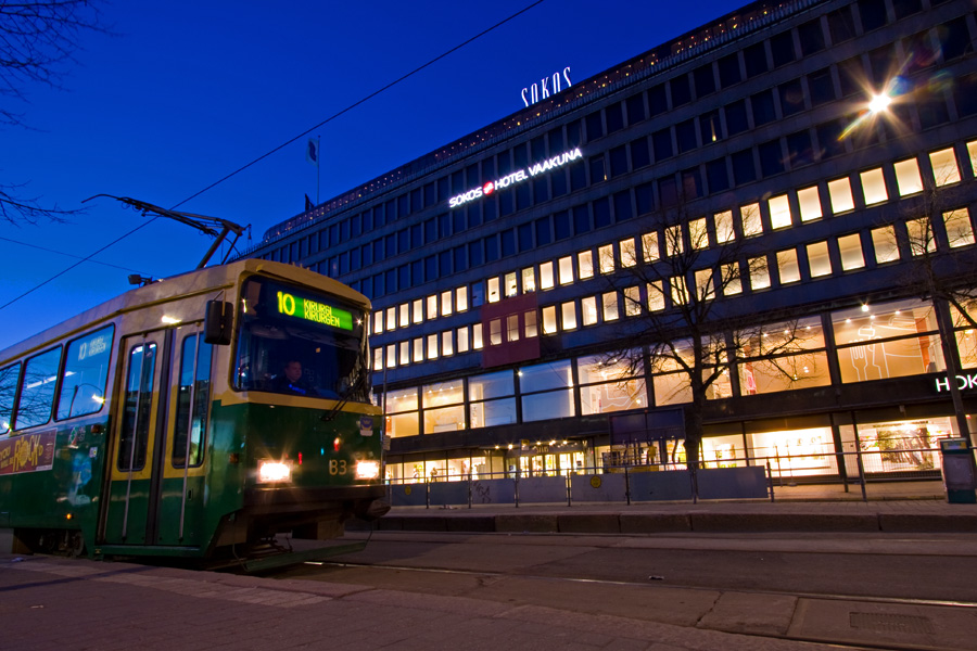 Sokos department store and a tram passing by