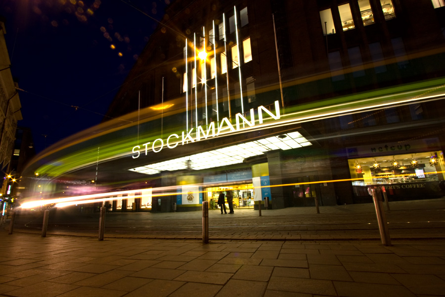 A tram passes by Stockmann department store