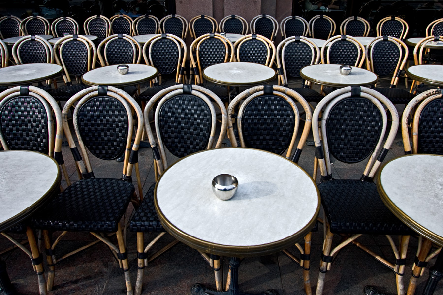 Chairs waiting for customers at Cafe Stringberg terrace