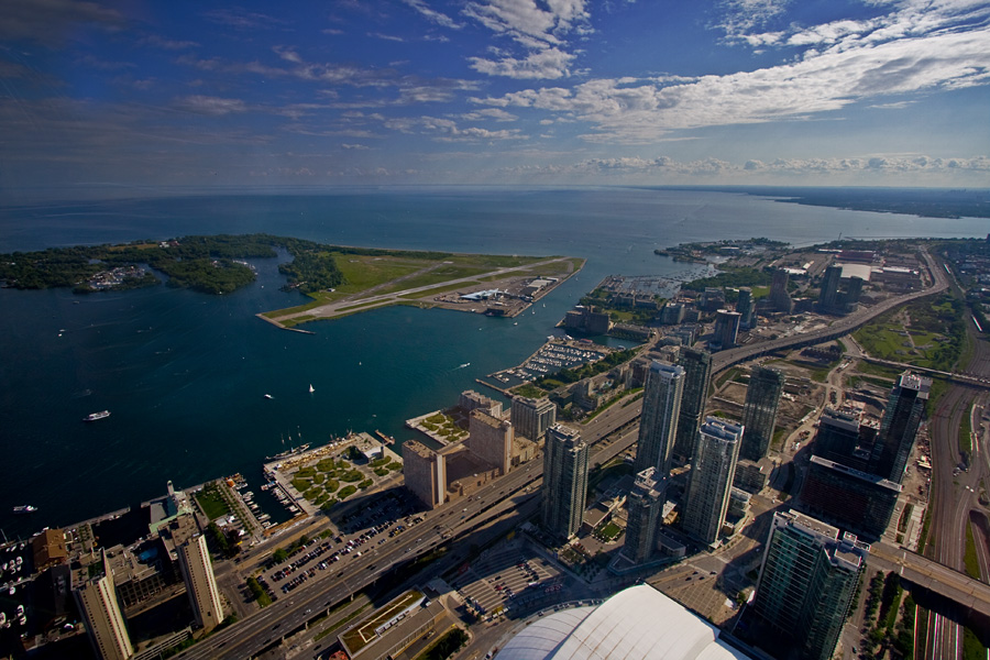 View from the CN Tower to the west overlooking Lake Ontario