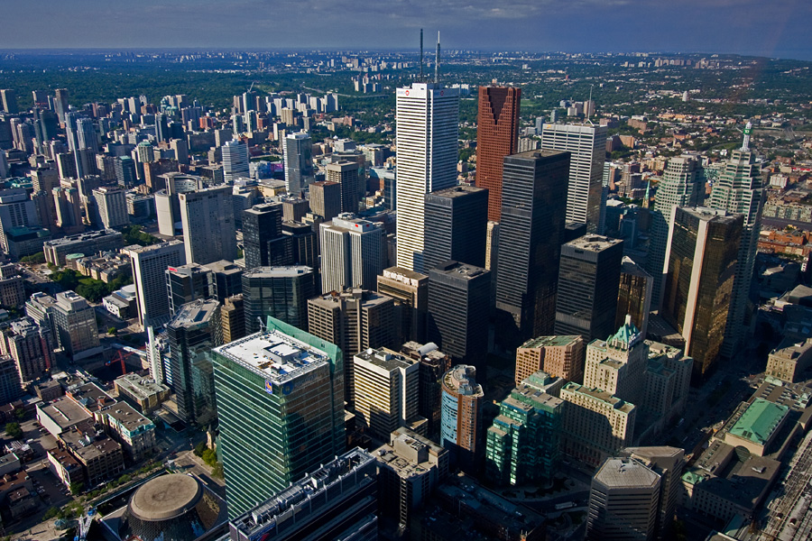 View from the CN Tower towards Toronto city center