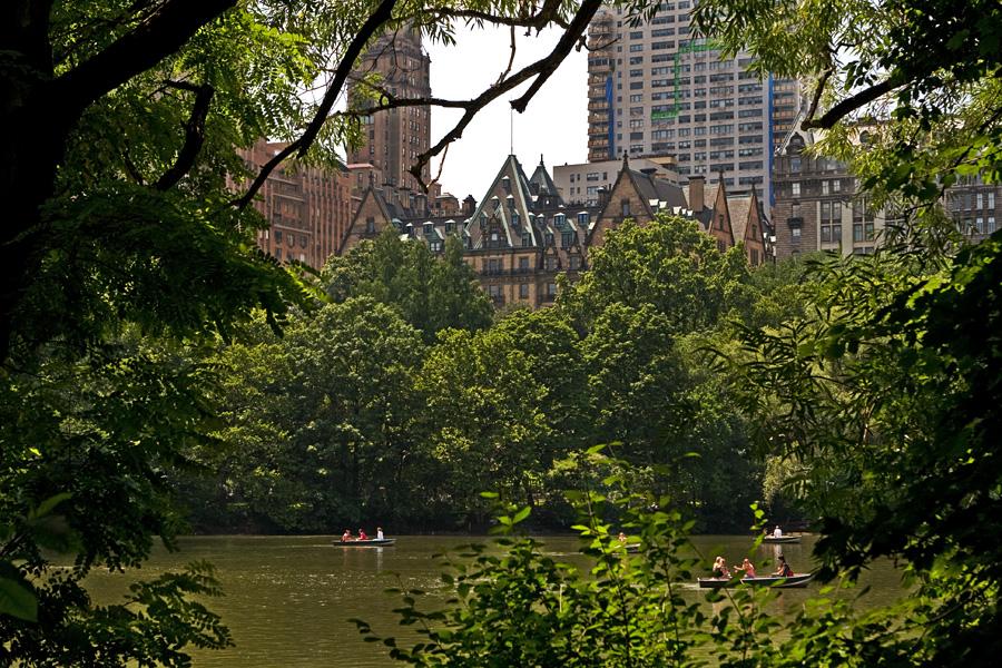 Dakota pilkistää Central Parkin puiden takaa