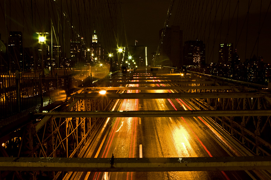 Traffic on Brooklyn Bridge at dusk