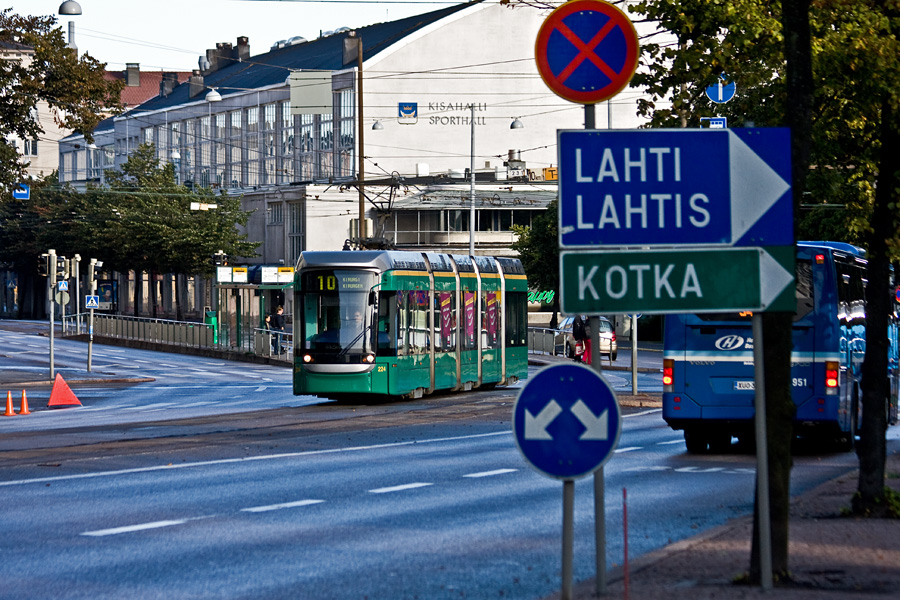 Töölö sports hall and traffic on Mannerheimintie