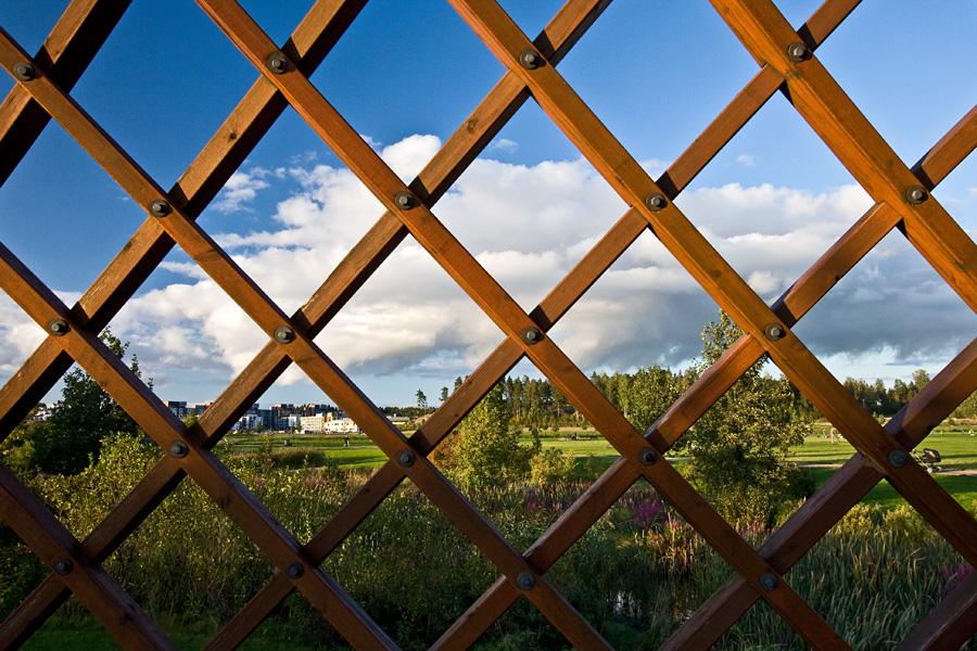 Viikinojanpuistoa nähtynä sillan ristikkoseinän läpi