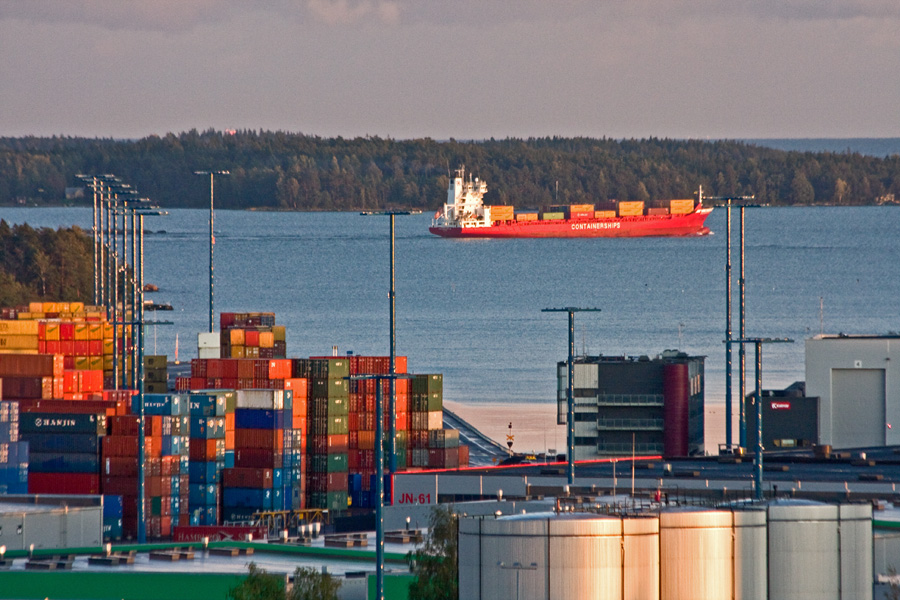 A container ship leaving Vuosaari port
