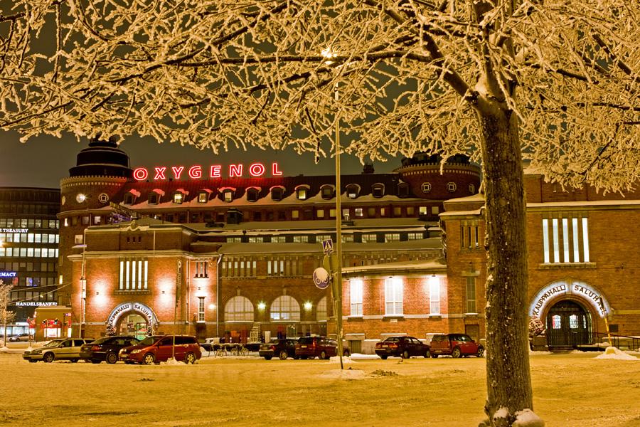 Hakaniemi market hall at winter