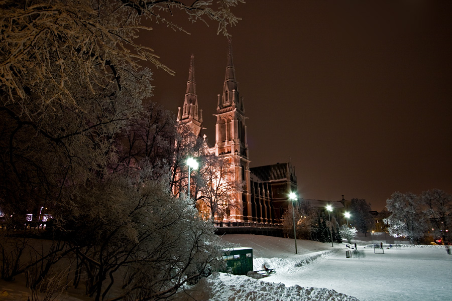Johanneksenkirkko church during a winter evening
