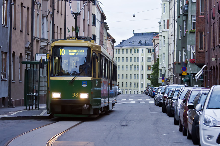 Line 10 tram at the Tarkk'ampujankatu terminus