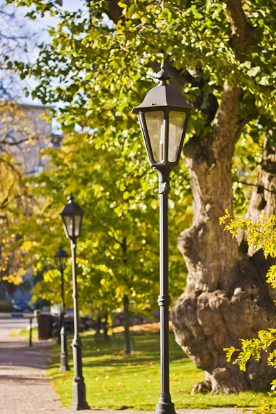 Light poles in Herttoniemi manor park
