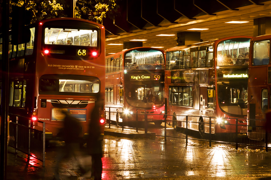 Double-decker buses at Euston station