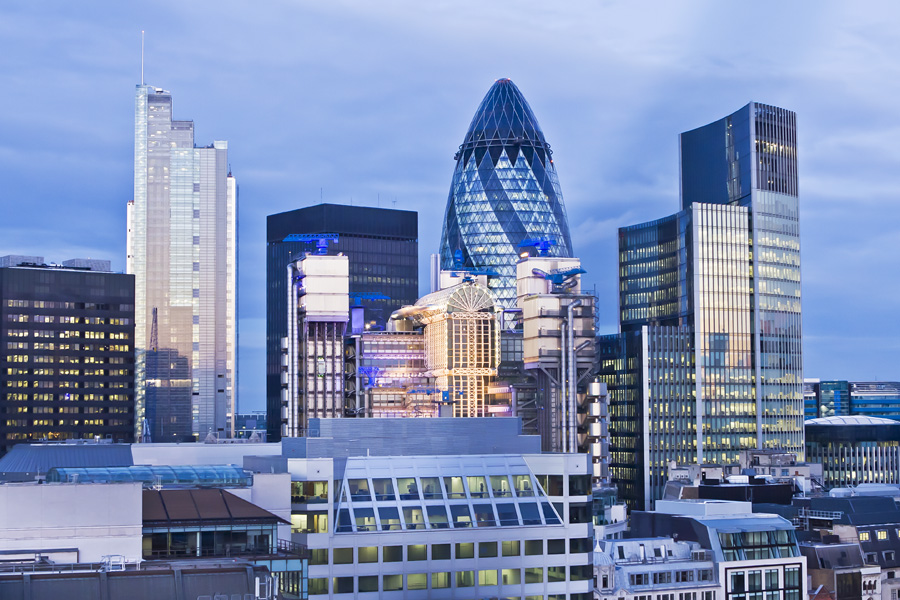 The Gherkin with nearby buildings